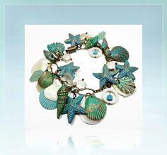New   Turquiose Patina Starfish & Florida Shell Bracelet by BeadazzleMe, $25.00