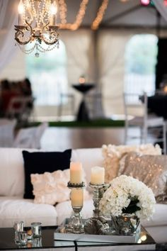 LOVE. To do... light / white couches, black and gold sequin pillows, hydrangeas, vanilla candles, glass table, soft fur / animal rugs.