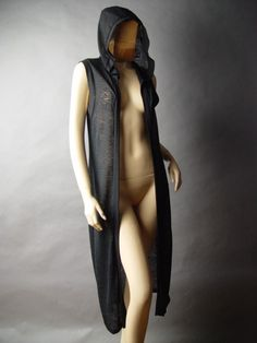 lack Hooded Long Duster Cloak Pagan Wicca Goth Cardigan Vest
