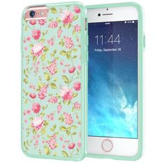 """Free Shipping. Buy iPhone 6 Plus, 6s Plus Case 5.5"""", True Color® Vintage Flowers Floral on Clear Transparent Hybrid Cover Hard + Soft Slim Thin Durable Protective Shockproof TPU Bumper + Stylus & Screen Protector - Mint at Walmart.com"""