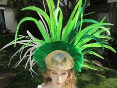 Long coque feather Tahitian headdress by ISLANDMANA on Etsy, $235.00