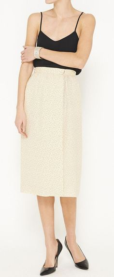 Christian Dior. ivory & black + spaghetti strap + knee-length skirt XX<3
