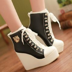 PU Chalaza Lacing Black Round Closed Toe Wedges Super High Heel Boots #ShopSimple