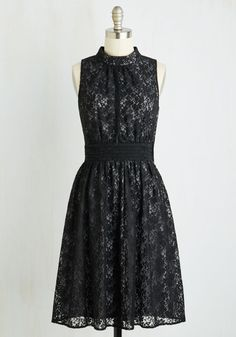 Windy City Dress in Black Lace. Cause a chic scene down the Magnificent Mile in this mysterious black frock - a ModCloth exclusive! #multi #modcloth