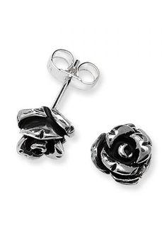 Linda Macdonald Silver Rose Garden Stud Earrings