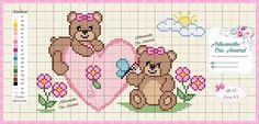 Baby Cross Stitch Patterns, Cross Stitch Baby, Cross Stitch Animals, Cross Stitch Designs, Teddy Bear Crafts, Baby Teddy Bear, Cross Stitching, Cross Stitch Embroidery, Hand Embroidery