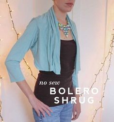 Aunt Peaches shows how to drapey bolero.  It's a no-sew project, and it's super fast and super easy to do.  She starts with a long sleeved t-shirts, makes some cuts, and then turns it u…