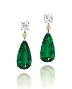 A pair of 23.34ct and 23.18ct Colombia no oil pear-shaped emerald, pearl and diamond earrings