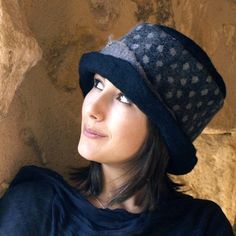 felt and cotton hat handmade in france dotty RESERVED by jannio