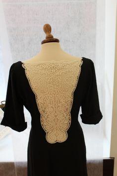Black dress with lace inset in ivory silk on the back - Abito nero con inserto di merletto in seta avorio sulla schiena Lace, Tops, Women, Fashion, Fashion Styles, Shell Tops, Fashion Illustrations, Trendy Fashion, Moda