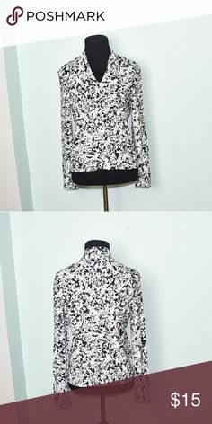 Talbots Black and White Print Silky Blouse In excellent condition! Very flowy, comfortable, and soft! Buy 3 items and get 1 free plus 15% off your purchase total! Talbots Tops
