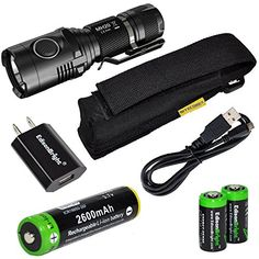 Nitecore MH20 CREE XML2 U2 LED 1000 Lumen USB Rechargeable Flashlight EdisonBright 18650 rechargeable Liion battery USB charging cable Holster and EdisonBright USB charger bundle ** You can get additional details at the image link.