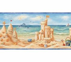 Another Choice If I Get The Little Girl Curtain Sand Castles Kids Beach Wallpaper Borders