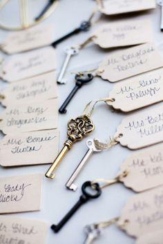 #Vintage keys as #wedding favors. #adoredecor