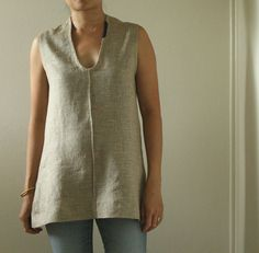 SCOOP LINEN TUNIC / tank / top / women's linen clothing / eco / handmade by pamelatang on Etsy, $115.00