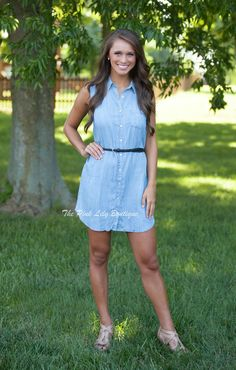 The Pink Lily Boutique - Chambray Belted Dress, $37.00 (http://thepinklilyboutique.com/chambray-belted-dress/)