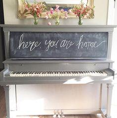 Chalkboard painted piano.