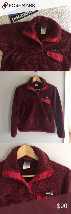 """Red Patagonia Retool Snap-T Fleece Pullover Excellent condition Patagonia pullover. Re-tool Snap-T Fleece style. Fleece is super plush and warm. Runs small in my opinion: a bit on the shorter side overall. Sleeve measures to be 21"""" from armpit to cuff. 22"""" long from shoulder to hem. 8""""x3"""" bumper sticker included. Feel free to ask any questions!! Price is negotiable Patagonia Tops Sweatshirts & Hoodies"""