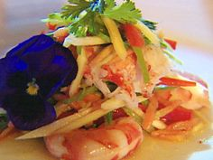 Salad of Green Mango with Prawn and Lobster Tail and Lime-Chili Dressing recipe from Behind the Bash via Food Network