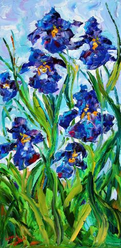 Original PALETTE KNIFE PAINTING Iris flowers by Karensfineart