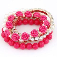 Bohemian Fashion Candy Color Pearl Rose Flower Multilayer Beads Stretch Charm Bracelet & Bangle For Women pulseras mujer Crystal Bracelets, Bangle Bracelets, Bracelet Set, Stretch Bracelets, Resin Bracelet, Couple Bracelets, Bracelet Charms, Metal Bracelets, Stone Bracelet