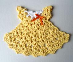 "Free pattern for ""Sunshine Dress Dishcloth""! - I made adorable! Used H try I needle - Lily & Sugar n Cream Yarn"