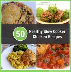 50 Healthy Slow Cooker Chicken Recipes with Weight Watchers Points Plus. http://simple-nourished-living.com/2014/07/healthy-slow-cooker-chicken-recipes/