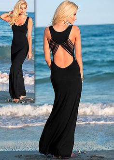 Black (BK) Back Detail Maxi Dress $32  Design innovation leads to divine inspiration when you're this seriously sensual.