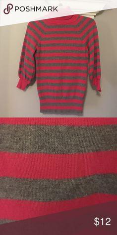 Express Striped Shirt Gray and Darker Pink Striped Shirt. EUC Express Tops