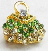 Green Gold Crystal Rhinestone Handbag/Purse Brooch