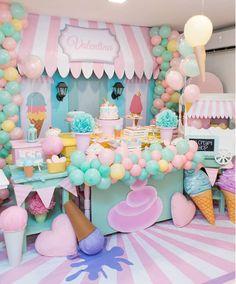 first birthday photo Candy Theme Birthday Party, Candy Party, First Birthday Parties, Birthday Party Decorations, First Birthdays, Pastel Party Decorations, Ice Cream Decorations, Carnival Birthday, Birthday Cake