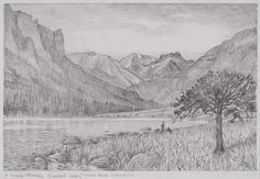 Pencil Drawing Tutorials Morning on Emerald Lake - Study Sketchbook Drawings, Love Drawings, Easy Drawings, Drawing Sketches, Sketching, Realistic Drawings, Landscape Sketch, Landscape Drawings, Cool Landscapes