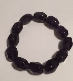 "Black Quartz Stretch Bracelet Large 8"" New 