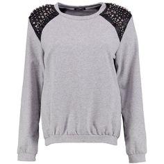 Boohoo Emily Premium Studded Shoulder Sweatshirt ($35) ❤ liked on Polyvore featuring tops, hoodies, sweatshirts, pastel crop top, off-the-shoulder sweatshirt, bralette crop top, polka dot jersey and polka dot crop top