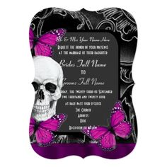 Alternative purple gothic sugar skull wedding card - tap to personalize and get yours