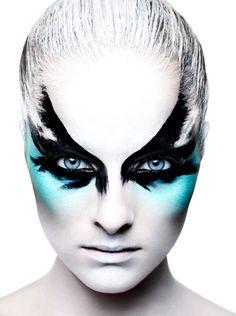 Bird Makeup, Mask Makeup, Eye Makeup Art, Blue Eye Makeup, Black Swan Makeup, White Face Makeup, Skin Makeup, Beauty Makeup, Rankin Photography