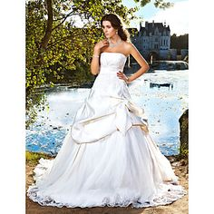 Ball Gown Strapless Chapel Train Satin Pick-up Wedding Dress  – USD $ 244.99