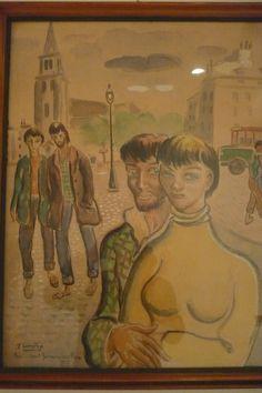 """arte """"pareja en St Germain des-prés"""" 1953 de Lamuño"""