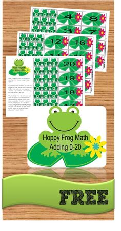 FREE Hoppy Frog Math Game is a fun addition games for help kindergarten, 1st grade, 2nd grade practice adding