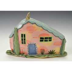Pink House Two Trees Four Plants  Some Dots. by nancyandburt, $120.00