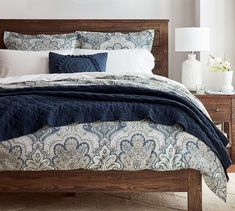 The lush allover pattern on our Jordana Duvet Cover adds an elegant layer to the bed. Plywood Furniture, Bedroom Furniture, Furniture Ideas, Cabin Furniture, Furniture Slipcovers, Western Furniture, Furniture Nyc, Cheap Furniture, Furniture Makeover