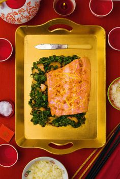 f5dd8aa898563 Gok Wan s Salmon with Pea Shoots and Oyster Sauce Oyster Sauce