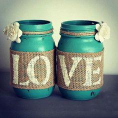 Chic Decor Jars-Mason Jar Decor,Jars with LOVE, Cottage Home Decor,Rustic Decor,Turquise Decor,Shabby Chic Decor,Decor Vases,Rustic Signs