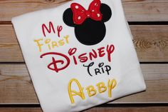 A personal favorite from my Etsy shop https://www.etsy.com/listing/250302909/my-first-disney-trip-minnie-mouse-2015