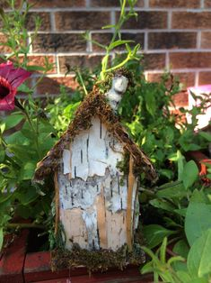 Tiny fairy house made from bark, moss, pine cones and sea glass Create Yourself, Finding Yourself, House Made, Pine Cones, Sea Glass, Unique Gifts, Fairy, Outdoor Decor, Etsy