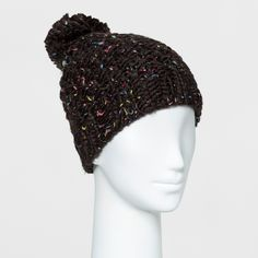 Women's Chunky Knit Beanie with Pom - Mossimo Supply Co. Black/Neon Confetti, Size: Large