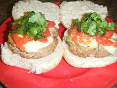 Made my own copycat recipe for Italian Hamburgers from Blackfinn. I used ground turkey, fresh mozzarella, roasted tomatoes (to the best of my ability), fresh basil, and garlic mayo on fluffy buns! they were super good!