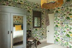 Borastapeter Rabarber wallpaper Ellie Horwell Roche for Design*Sponge Hall Wallpaper, London House, Dream House Plans, Guest Bedrooms, Home Bedroom, House Colors, Colorful Interiors, Decoration, Interior Decorating