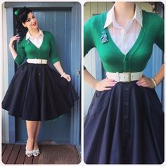 Retro Fashion Get your swing on with a circle skirt! - Pinup fashion is one of those styles that will never get old. Mode Rockabilly, Rockabilly Fashion, 1950s Fashion, Vintage Fashion, Rockabilly Outfits, Retro Mode, Vintage Mode, Vintage Pins, Vintage Style