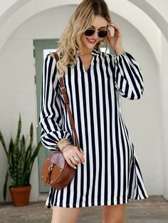 Casual Fall Outfits, Classy Outfits, Fashion Wear, Fashion Outfits, Girl Fashion, High Street Fashion, Striped Shirt Dress, Types Of Sleeves, Cute Dresses